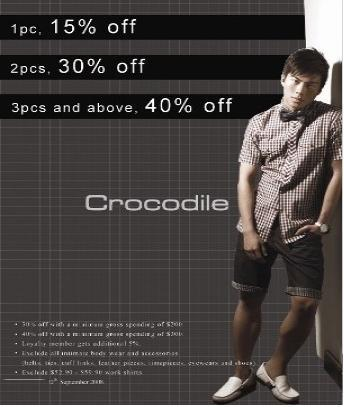 Crocodile Promotions – Valid till 30 Sep 2008